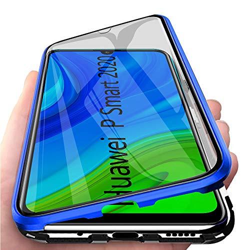 TVVT Funda Magnetica Compatible con Huawei P Smart 2020 Carcasa, Adsorción Magnética Funda Ultra-Delgado Transparente Vidrio Templado 360 Grados con 2en1 Mezclar Rígido Marco de Metal - Azul