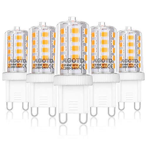 AGOTD 4W G9 LED Lampadine, Lampade LED Bianche Calde da 2700K, Equivalente a 40W Lampada Alogena, 400LM, AC220-240V, Angolo di visione 360°, Confezione da 5