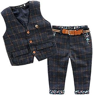 77c1828675081 ARAUS Bébé Enfants Garçon 2PC Ensembles Costume Gilet de Marée Style  Britannique +Jean Pantalon Manche