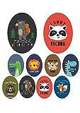 8 Parches termoadhesivos para la ropa. Apliques serigrafiados para planchar sobre camisetas, bata escolar, jeans, chaquetas. Diseño de moda: animales, oso. león, zorro - REF. 8552-U8