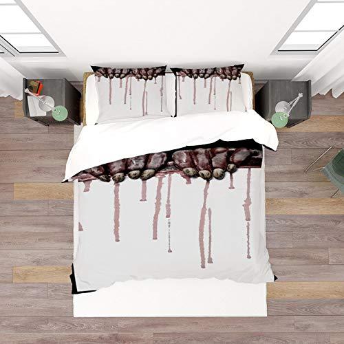 HKDGHTHJ® 3D-Bettwäsche ist super weich und bequem Halloween Zombie Blutfleck 260 x 230 cm Druck Bettwäsche Set Bettbezug/Bettdecke Bettlaken Kissenbezüge Bettwäsche Home Textile