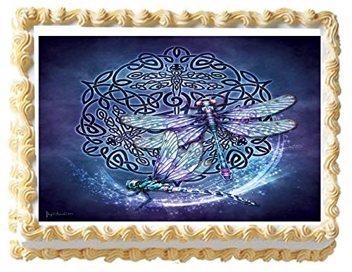 Celtic Dragon Fly Edible Icing Image Cake Topper (1/4 Sheet)