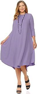 Pastel by Vivienne - Vestido midi para mujer, talla grande, liso y floral