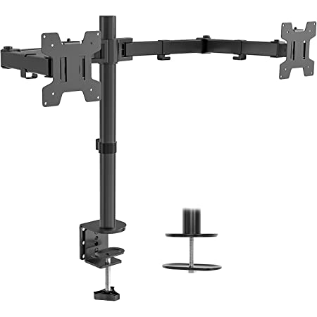 """WALI Dual LCD Monitor Fully Adjustable Desk Mount Stand Fits Two Screens up to 27"""", 22 lbs. Weight Capacity per Arm (M002), Black"""
