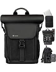 TARION Camerarugzak, waterdichte fotorugzak, cameratas, DSLR rugzak met 15,6 inch laptophoes en regenhoes (SP-01-zwart)