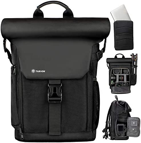 TARION Camera Backpack Canvas Camera Bag with Removable Laptop Compartment Waterproof Rain Cover product image