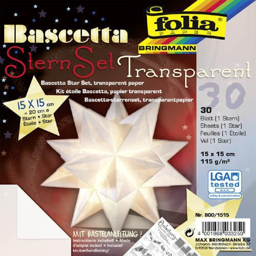 Faltblätter Bascetta Stern Transparent weiß, 15x15, - CFO800-1515