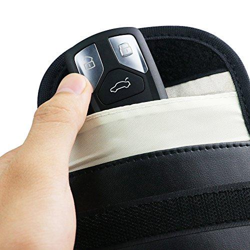 Car Key Fob Signal Blocking Pouch Bag - 2 Pack Car Keyless Signal Blocker Faraday Cage,RF Signal Shielding Pouch Bag for Car Key FOB,Antitheft Lock Devices,Fob Protector WiFi/GSM/LTE/NFC/RF Blocker