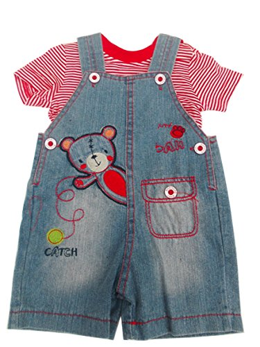 BNWT baby boys cute all in one denim teddy dungaree & T-shirt (3-6 months)
