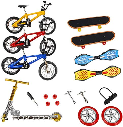 JPYH Mini Juguetes de Dedos Patinetas de Bicicletas de Dedo Tabla de Scooter de Dedo Minúsculo Favores de Fiesta de Punta de Dedo Herramientas Juguetes educativos para niños