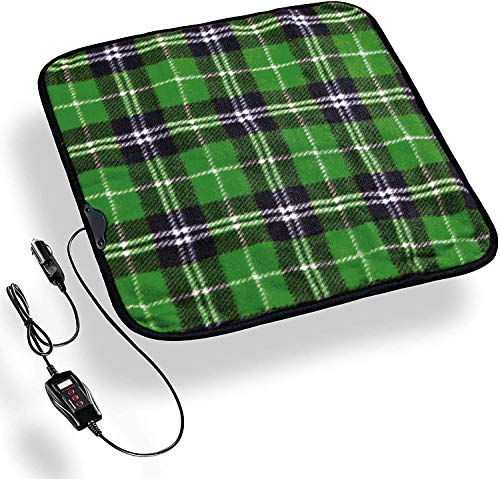 Zento Deals Heated Travel Car Pad 12V Green Plaid Premium Quality Electric Warm Pad, Relieves Back Pain, Fleece Material, Perfect for Travelling and Winter Season, Non-Flammable