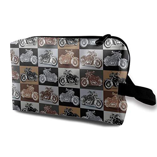Travel Makeup Storage Bag- Portable Toiletry Handbag Small Cosmetic Organizer Pouch for Women & Men- Biker for Life Motorc