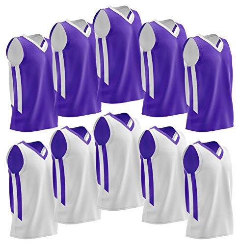 Liberty Imports 10 Pack - Reversible Men's Mesh Performance Athletic Basketball Jerseys - Adult Team Sports Bulk (Purple/White)