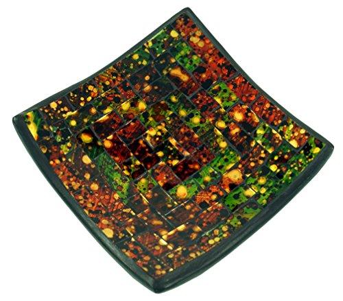 Guru-Shop Vierkante Mozaïek Kom, Onderzetter, Decoratieve Kom, Handgemaakte Keramische Glazen Fruitschaal, Zwart, 2x15x15 cm, Kommen