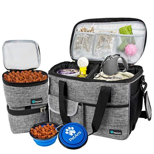 PetAmi Hunde-Reisetasche   von Fluggesellschaften zugelassene Tragetasche mit Multifunktionstaschen, Futterbehälter und faltbarer Schüssel perfektes Wochenend-Reise-Set für Hunde, Katzen (grau, klein)