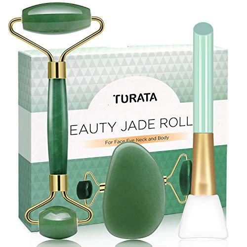 Rodillo de Jade, TURATA Facial Masaje Piedra Gua Sha Jade,