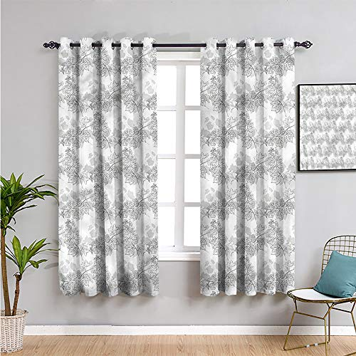 Pcglvie Cortina gris de granja, cortinas de 182,88 cm de largo con forma de espiral, cortina de café de 63 cm de ancho x 72 cm de largo