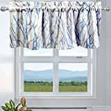 INICEKEY Blue and Gray Kitchen Curtain Valance for...