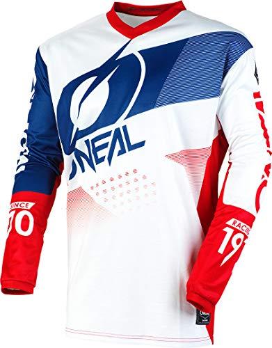 O\'NEAL | Motocross-Trikot | Enduro Motorrad | Passform für Maximale Bewegungsfreiheit, Gepolsterter Ellbogenschutz, Atmungsaktiv | Jersey Element Factor | Erwachsene | Weiß Blau Rot | Größe M