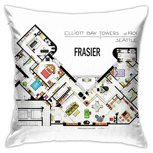 HOJJP Frasier Apartment Floorplan Bedroom Couch Sofa Square Pillow Case Home Decorative Throw Pillow Covers 18x18 Inch