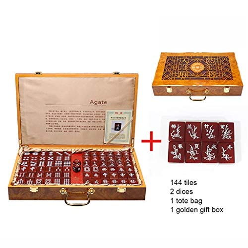 Chinese Mahjong Game Set Tile Games Mah Jong Board Game Chinese Traditional Mahjong Games Agate Entertainment Favorite Best Gift Lover (Color : Red, Size : 362818 mm)