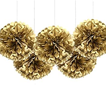 """MOWO 16"""" Gold Tissue Paper Flower Pom Poms Hanging Party Decorations Pack of 5"""
