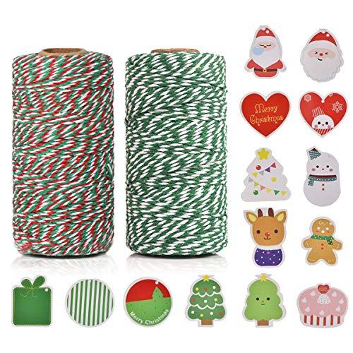 100% Baumwolle Handwerk Xmas Urlaub Bindfäden, Bäcker Schnur für DIY Handwerk und Geschenkverpackung Bonus mit 14 Stück Weihnachtskarten, 100 m (2 Rolle) by OITUGG (Grün + Mehrfarbig)