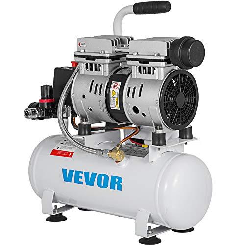 VEVOR Compressore d'Aria Senza Olio Ultra Silenzioso da 2 Galloni, Compressore Silenziato con Motore in Rame Puro, Compressore d'Aria 550 W, Rumorosità meno 48 dB, Compressore d'aria Portatile