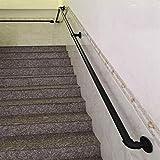 Pasamanos de escalera Escalera Negro Pipe Pasamanos 30cm-600cm, Profesional De Soporte Pared Negro Industrial Hierro Loft Pipe Pasamanos For Escaleras, Escalera Barandilla Con Los Soportes, Las Escale