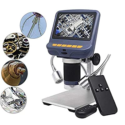 Andonstar 4.3 Inch 1080P LCD Digital USB Microscope with 10X-220X Magnification Zoom, 8 LED Adjustable Light, Camera Video Recorder for Phone Repair Soldering Tool Jewelry Appraisal Biologic Use
