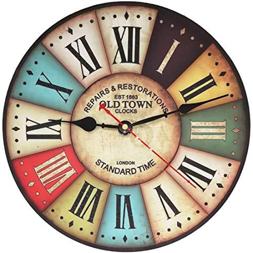 VieVogue Orologio da Parete, Vintage Colorful Francia Parigi Stile Francese del Paese Toscano di Numeri Arabi Design Silenzioso Orologio da Parete in Legno Home Decor (Old Town, 34cm)