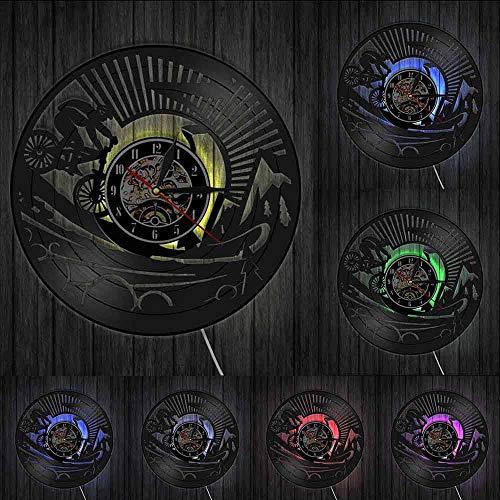 Mountainbike Vinyl Wandkunst Uhr Einzigartige Vintage Home Decor Wanduhr Geschenk für Fahrrad Sportliebhaber Travel Art Clock Uhr-Mit