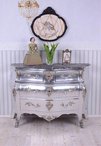 Barock Kommode antik Silber Marmorplatte Schrank Palazzo Exklusiv