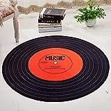 Tapis Design Moderne Rug Salon tradtionnel Carpet Tapis Rond Orange Rouge Noir Disque de Musique diamètre 120cm