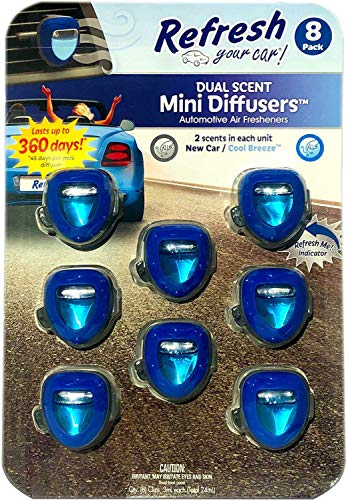 u a a auto air fresheners Refresh Your Car Dual Scent Mini Diffusers Longlasting Automotive Air Fresheners with Indicator, 8 ct