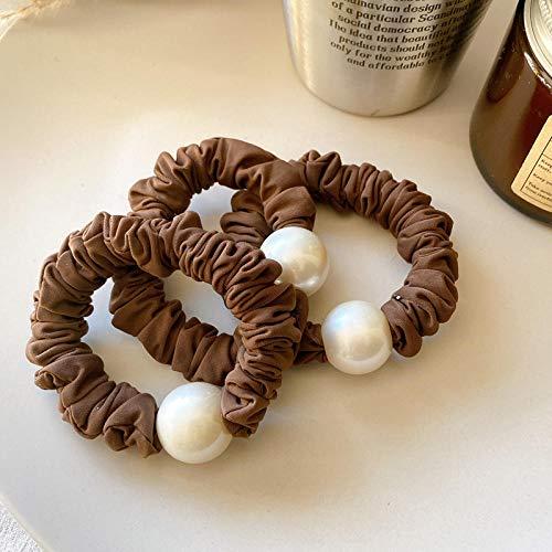Tocado de perla simple intestino grueso círculo de pelo temperamento todo fósforo-3 marrón