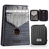 GECKO Kalimba 17 Key Thumb Piano with Hardshell Case Study Instruction Song Book tuning hammer for Beginners C Tone Tuned Black