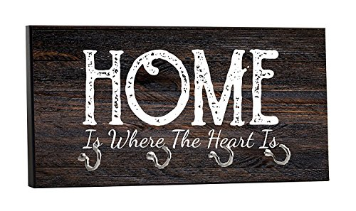 "Max Wilder Home is Where The Heart is, on Wood Print, 5"" by 11"" Key Hanger Rack, Household Decoration with Four Silvertone Hooks"