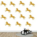 DXLING 32pcs/Set Metallic Equestrian Horse Wall Stickers Vinyl Wall Decals Decor Kids Room Living Room Wallpaper Removable Mural SA525 (Gold)