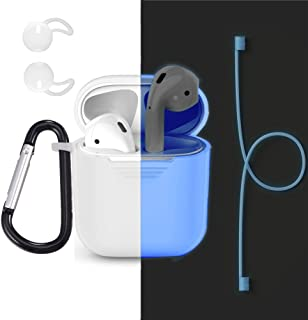 Bandmax Compatible Airpods Accessories 4 Pieces Set(Nightglow Blue),Silicone Airpods Case&Airpods Earhooks&Anti-Lost Stra...