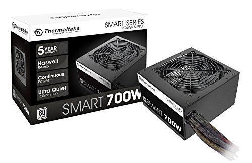 Thermaltake Smart 700W 80+ White Certified PSU, Continuous Power with 120mm Ultra Quiet Fan, ATX 12V V2.3 EPS 12V Active PFC Power Supply PS-SPD-0700NPCWUS-W