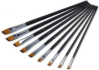 Yosoo 9 PCS Nylon Oblique Flat Tipped Paint Brushes Set, Inclined Plane Wooden Long Handle Brush Set Art Artist Profession...
