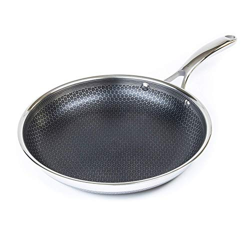 Hexclad Hybrid Nonstick Cookware 12' Frying Pan, PFOA Free, Metal Utensil Safe, Induction Ready