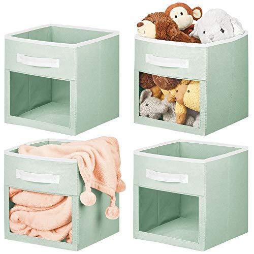 mDesign 4er-Set Aufbewahrungsbox für Spielsachen oder Kleidung – würfelförmige Stoffbox mit Griff und Sichtfenster – Faltbare Spielzeugkiste aus Stoff – mintgrün und weiß