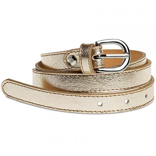 Caspar GU273 schmaler Damen Leder Gürtel Taillengürtel, Gürtelgröße:95, Farbe:gold metallic