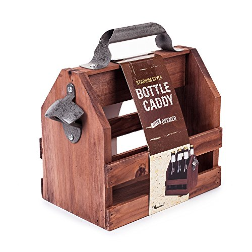 Mealivos Wooden Bottle Caddy, 6-Pack Beer Carrier with Built-In Metal...