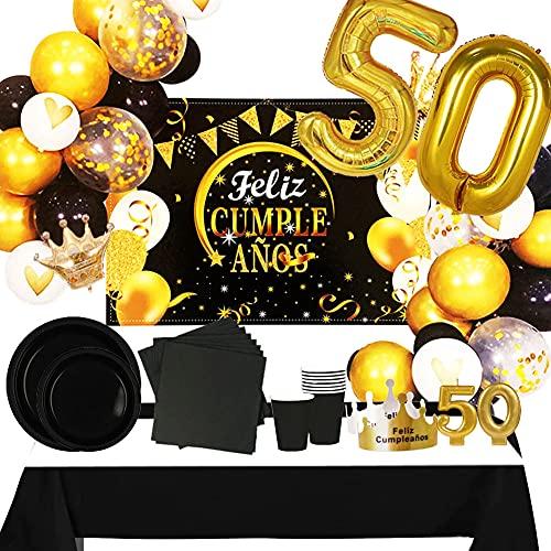 Fiesta Cotigo Pack de Artículos para Fiesta Cumpleaños Número 50-Decoración de Globos Cumpleaños,Set de Vajilla Desechable Cartón y Accesorios-Temática Negra y Dorada para Adultos Hombres y Mujeres