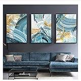 quadro moderno astratto stampa su tela immagine per soggiorno camera da letto blu arte della parete grande - senza cornice 40x60 cm x3