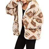 Tirrinia Sherpa Hooded Jacket for Women, Super Soft Plush Reversible Casual Winter Blanket Jackets Navajo Sweater South West Style Pullover with Hood