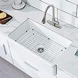 33 inch Ceramic Kitchen Sink, HERCATE White Reversible Sink, Single...